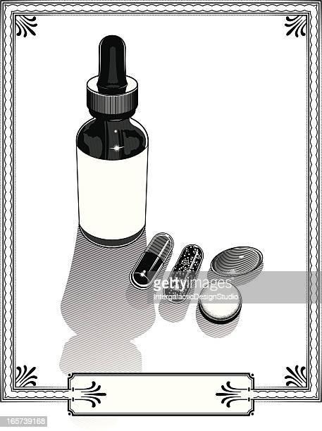 錠剤ビンテージデザインの設定を設定