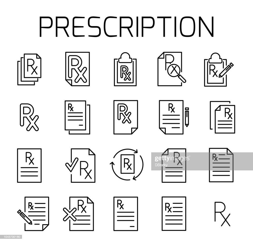 Prescription related vector icon set.