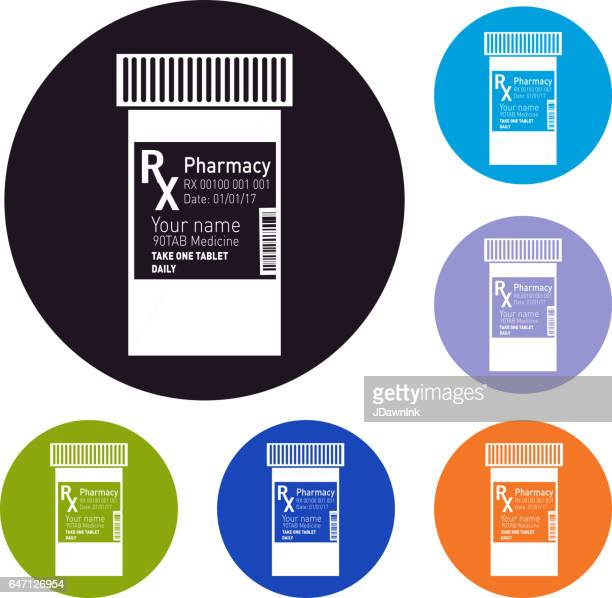 RX prescription set of icons