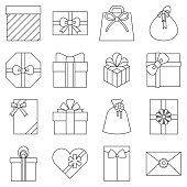 Present, envelop, gift box and gift bag collection in thin line