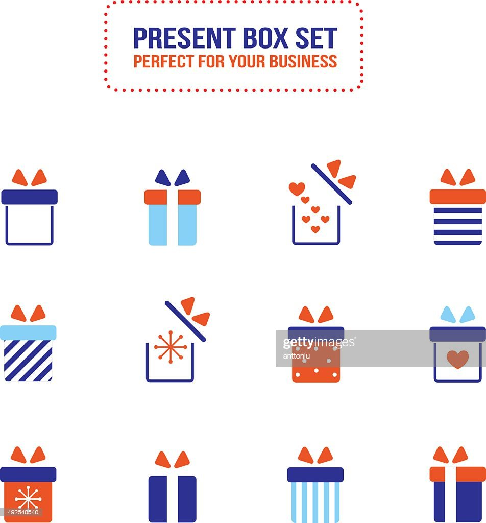 Present gift box icon set Christmas New Year Holiday concept