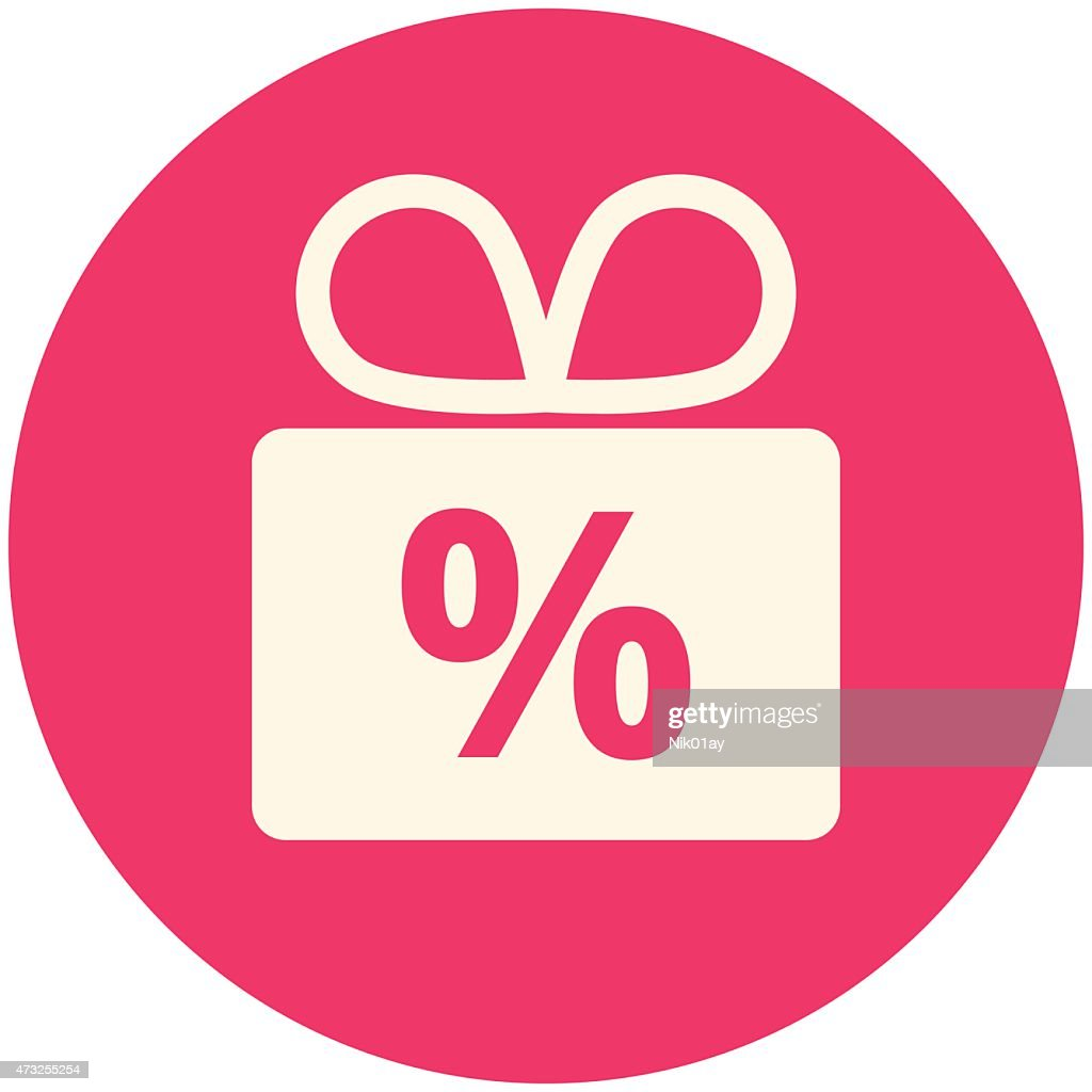 A present icon with a percentage symbol, showing discounts