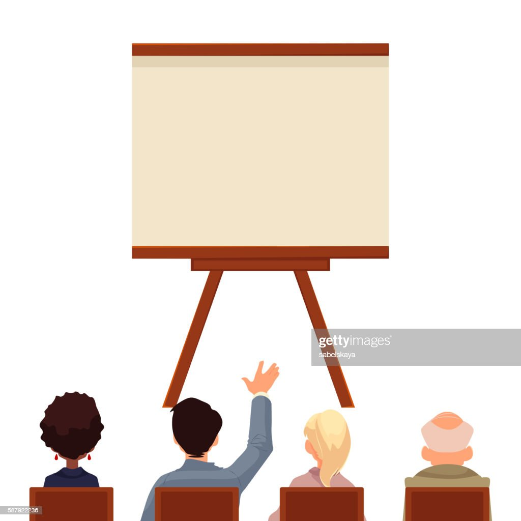 Presentation board in front of business people