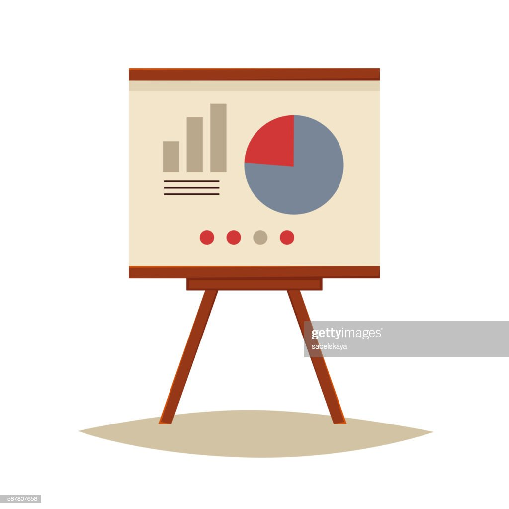 Presentation board with pie chart and infographic elements