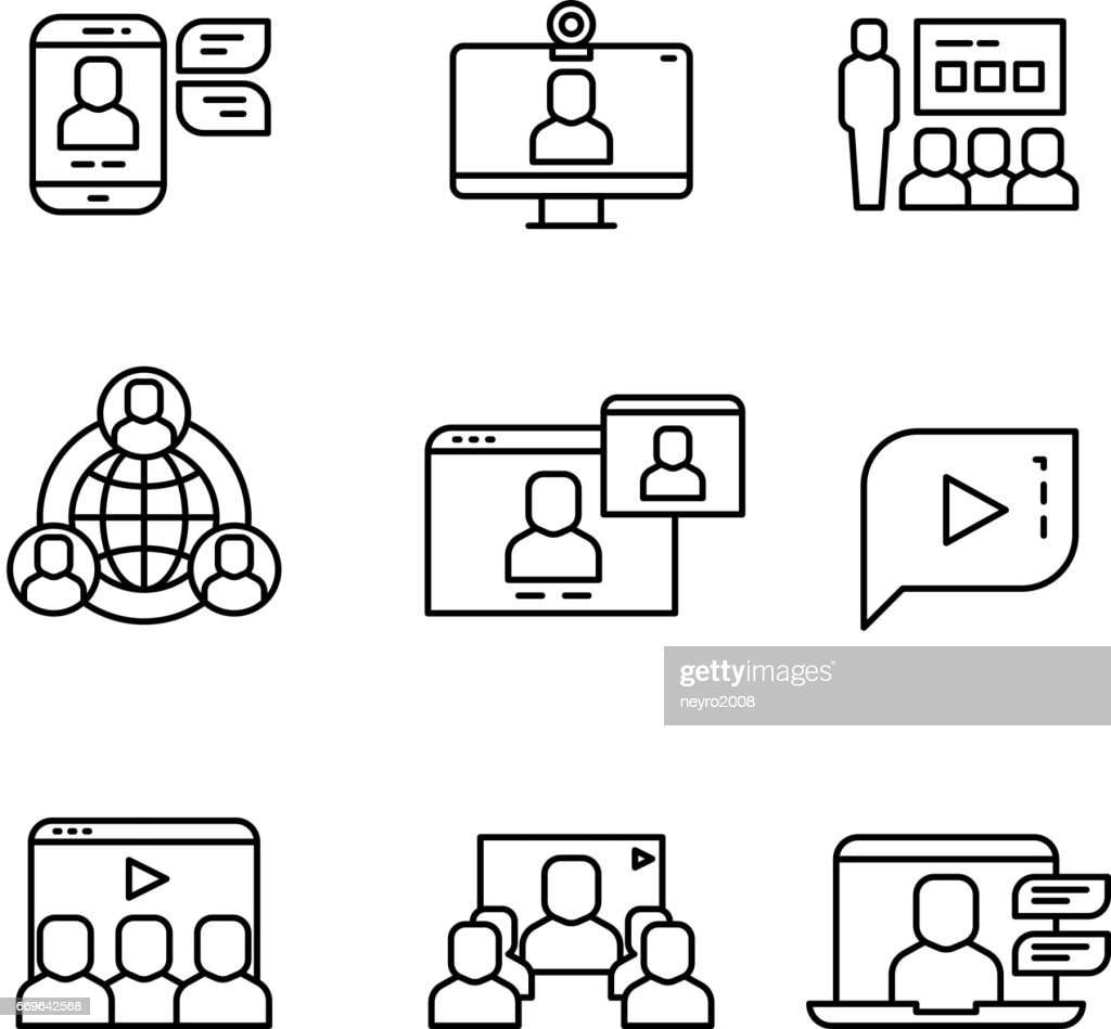 Presentation, computer conference webinar and online communication vector linear icons