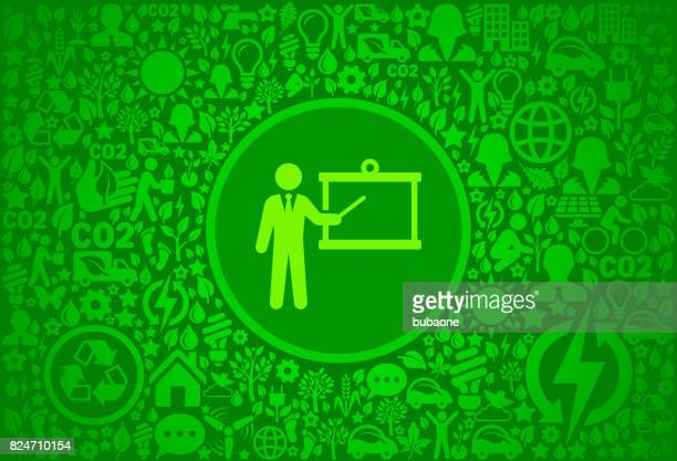 Presentation Environment Green Vector Icon Pattern