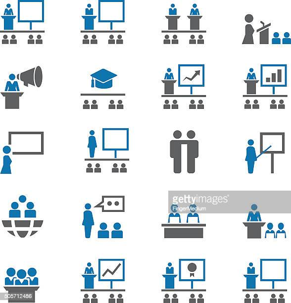 presentation icon set - press conference stock illustrations, clip art, cartoons, & icons