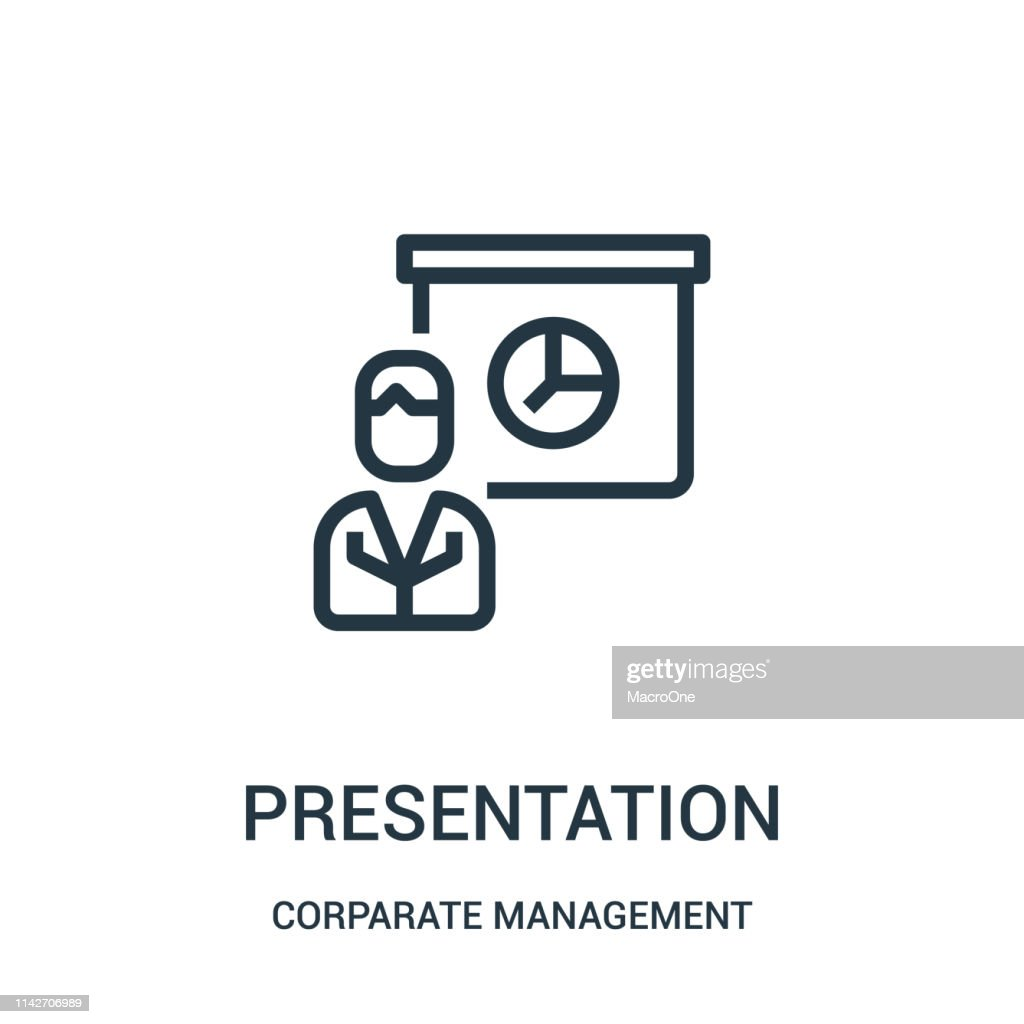 presentation icon vector from corparate management collection. Thin line presentation outline icon vector illustration. Linear symbol for use on web and mobile apps, logo, print media.