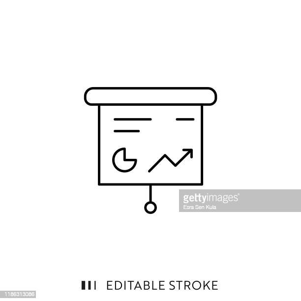 presentation icon with editable stroke and pixel perfect. - projection screen stock illustrations