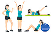 Presentation idea fitness or gym concept women general exercise on their own at home.
