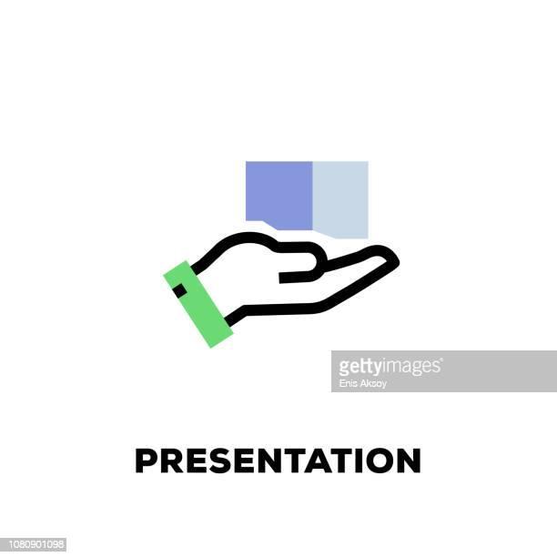 ilustraciones, imágenes clip art, dibujos animados e iconos de stock de icono de la línea de la presentación - maletín