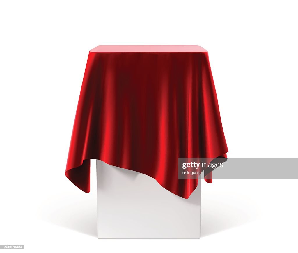 Presentation pedestal covered with a red cloth