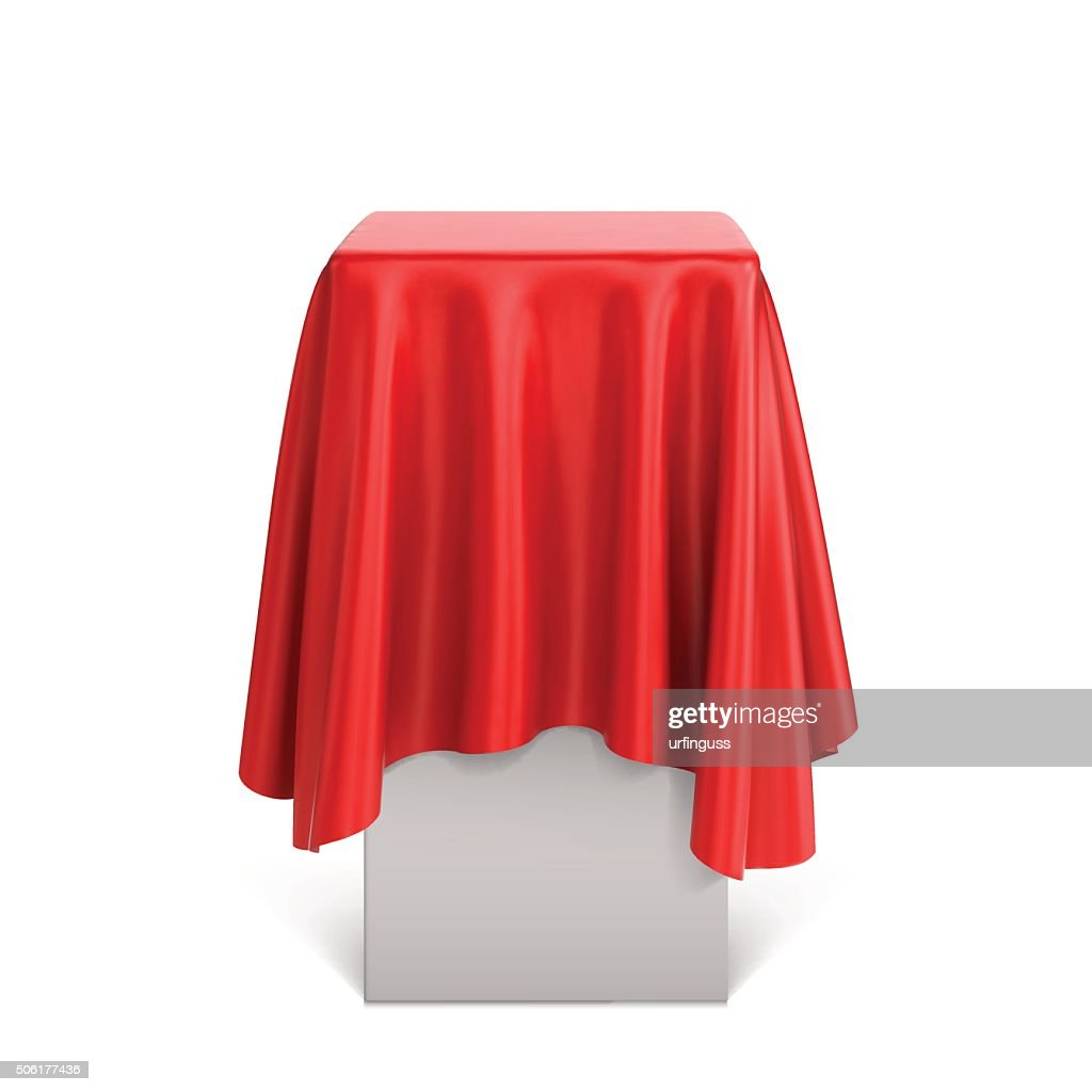 Presentation pedestal covered with a red silk cloth