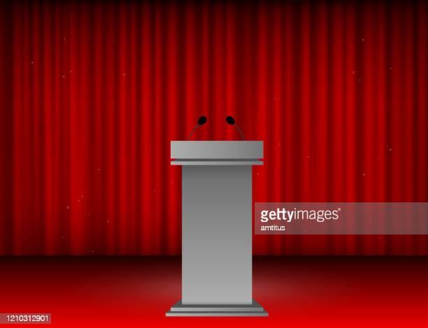 illustrations, cliparts, dessins animés et icônes de podium de présentation - pupitre