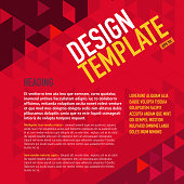 Presentation polygonal triangle magenta template with sample text layout