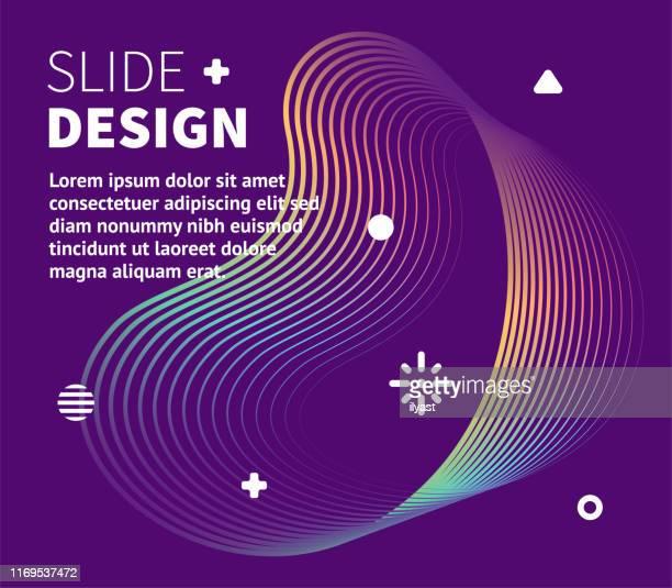 ilustrações, clipart, desenhos animados e ícones de modelo de apresentação e linhas fluidas dinâmicas - elemento de desenho