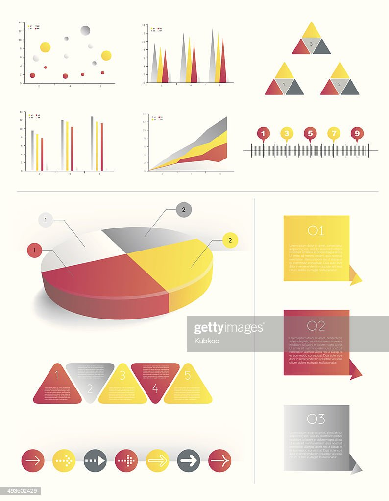 Presentation template for infographics with pie chart diagram