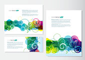 Presentation template sample text set of three multi color swirls