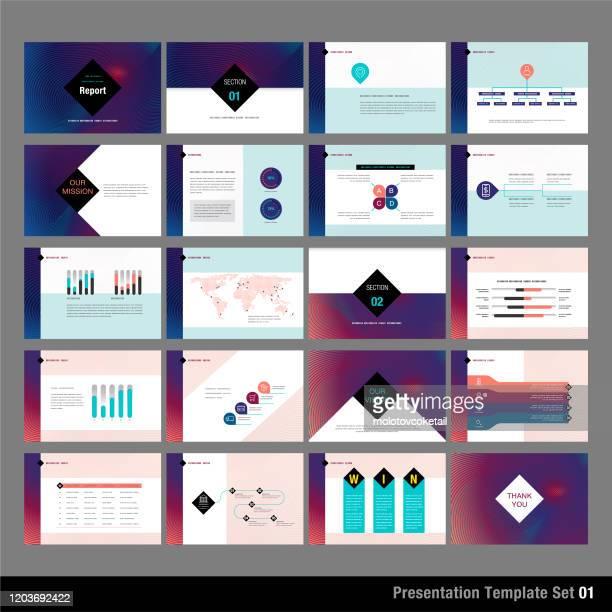 präsentationsvorlagensatz - bildschirmpräsentation stock-grafiken, -clipart, -cartoons und -symbole