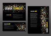 Presentation template set with sample text layout dot pattern