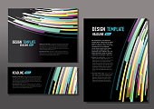 Presentation template set with sample text layout multi color