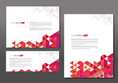 Presentation template set with sample text layout red orange