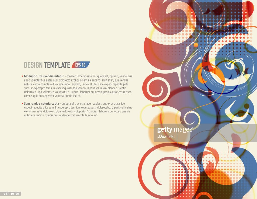 presentation template with sample text layout red blue swirls, Presentation templates