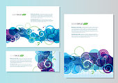 Presentation template with sample text set of three blue purple