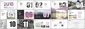 Presentation templates. Calendar planner for 2018 year. Pink color elements on a white background. Brochure cover vector design. Presentation slides for flyer, leaflet, brochure, report, marketing.
