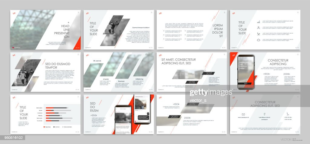 Presentation templates with red elements on a white background.
