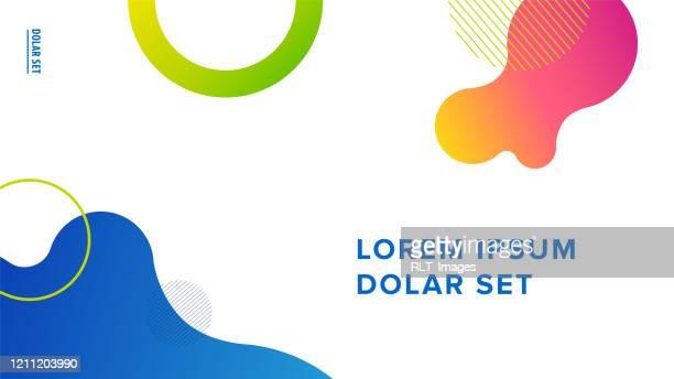 präsentationstitel-foliendesign-layout mit fluid gradientgraphics und text auf weißem hintergrund - bildschirmpräsentation stock-grafiken, -clipart, -cartoons und -symbole