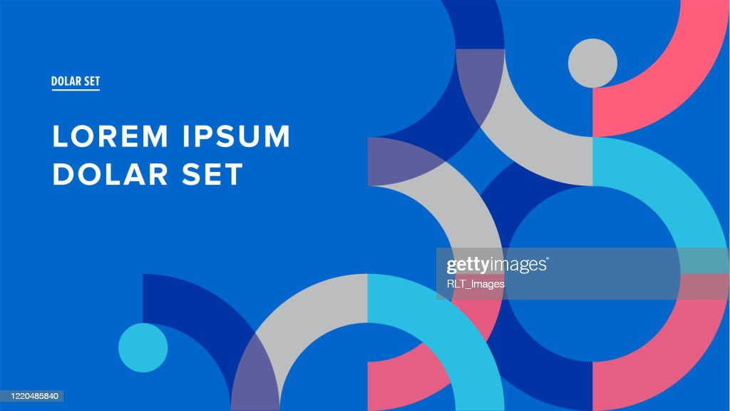 Presentation title slide design template with retro midcentury geometric graphics : stock illustration