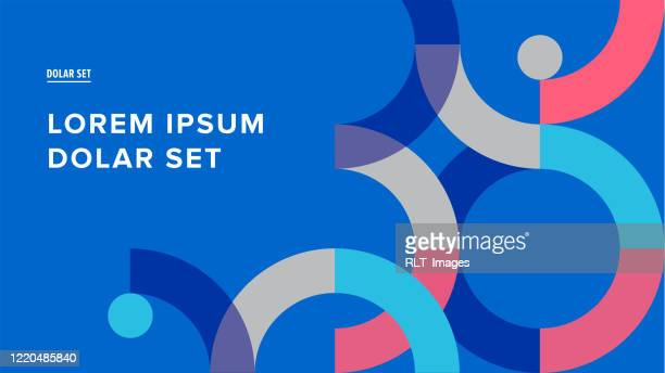 presentation title slide design template with retro midcentury geometric graphics - abstract stock illustrations
