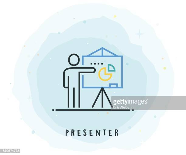 Presenter Icon with Watercolor Patch