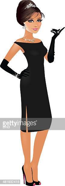 presenting girl - tiara stock illustrations, clip art, cartoons, & icons