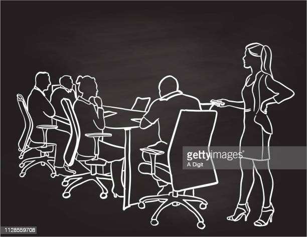 presenting the pitch business woman - conference table stock illustrations, clip art, cartoons, & icons