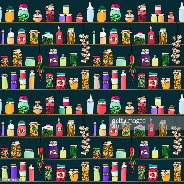 preserves seamless pattern - food state stock illustrations