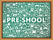 pre-shool School and Education Vector Icons on Chalkboard