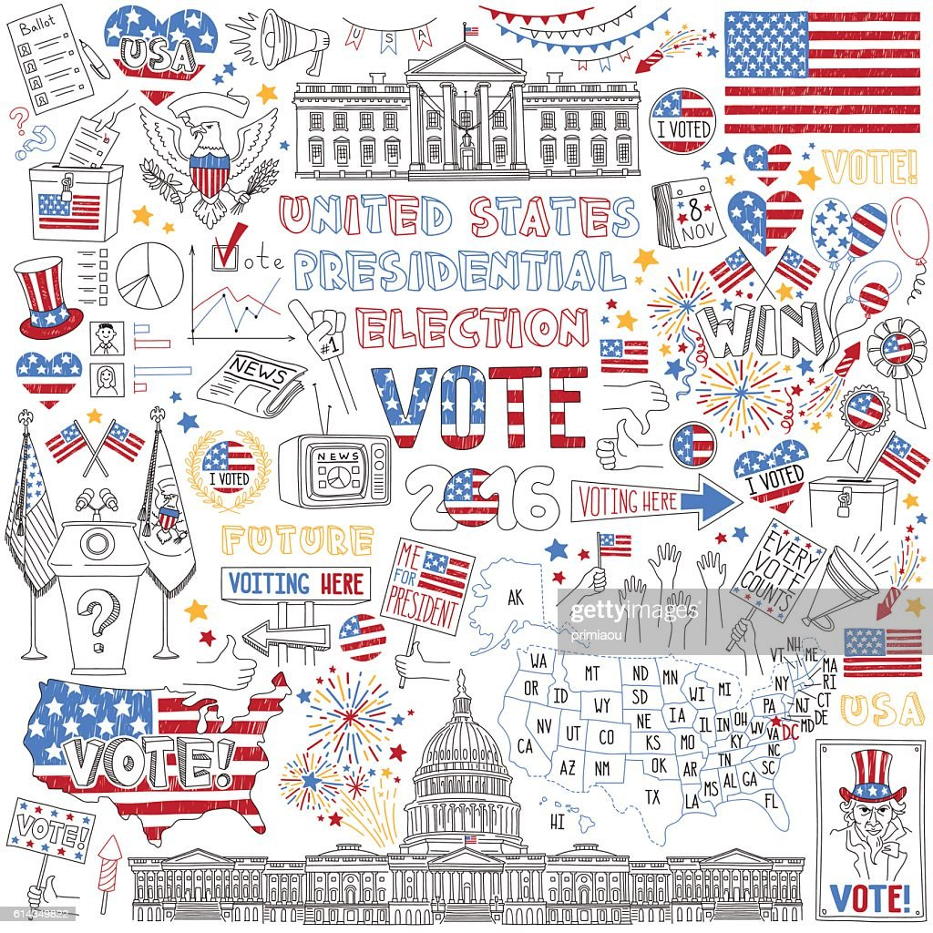 2016 USA President Election hand drawn set.