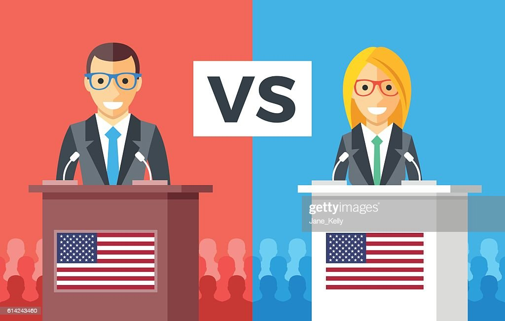 Presidential debates. Candidates at rostrums, US flags. USA presidential elections