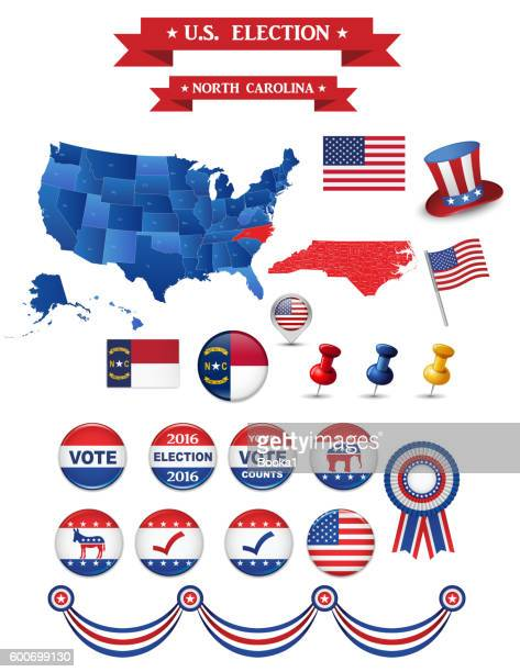 us presidential election 2016. north carolina state - north carolina us state stock illustrations