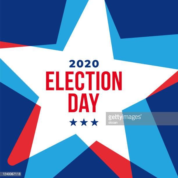 米国の大統領選挙2020。投票日、11月3日。米国の選挙。愛国的なアメリカの要素。ポスター、カード、バナー、背景。ベクターの図。 - 昼間点のイラスト素材/クリップアート素材/マンガ素材/アイコン素材