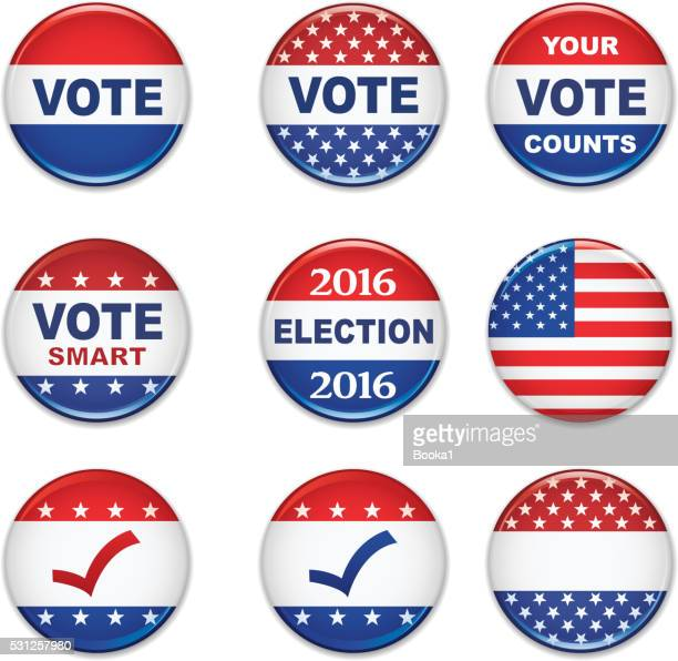 usa presidential election buttons - 2016 - presidential candidate stock illustrations