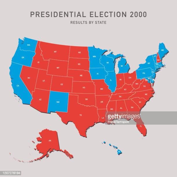 presidential election map 2000 usa - 2000 stock illustrations
