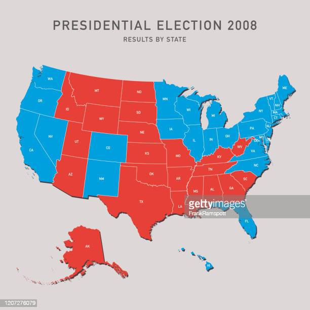 presidential election map 2008 usa - 2008 stock illustrations