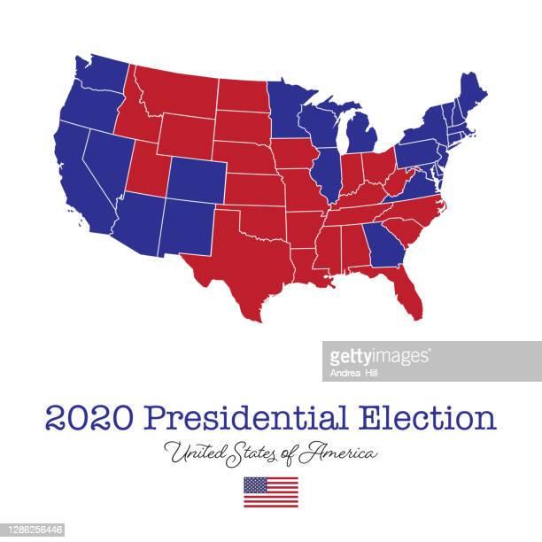 アメリカ大統領選挙マップ2020 - ベクトルeps10のイラスト - 支援団体点のイラスト素材/クリップアート素材/マンガ素材/アイコン素材