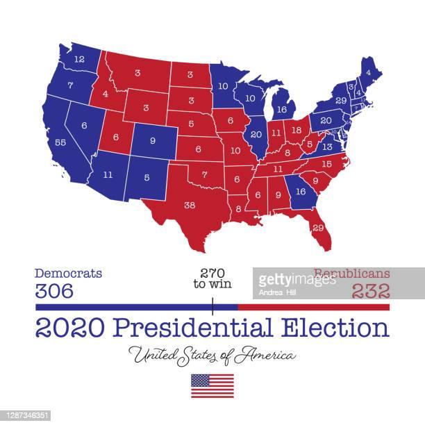 アメリカ大統領選挙マップ2020 - ベクトルeps10のイラスト - 選挙人団点のイラスト素材/クリップアート素材/マンガ素材/アイコン素材