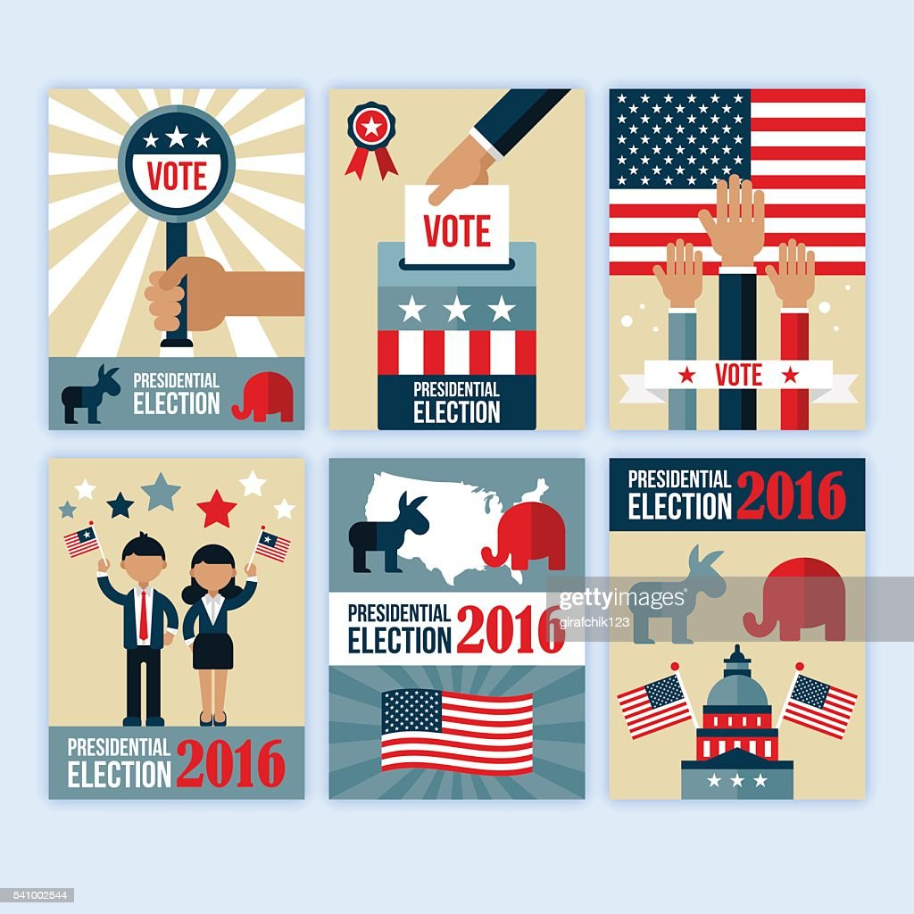 Presidential election poster desgn set. Presidential election voting