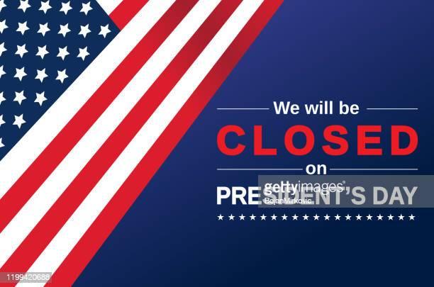 präsidenten-tageskarte. wir werden geschlossen zeichen sein. vektor - präsident stock-grafiken, -clipart, -cartoons und -symbole
