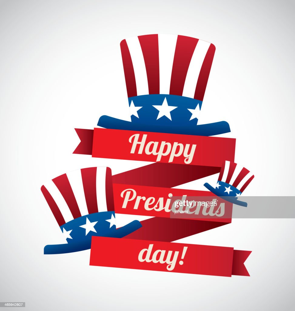 Presidents' Day design with three American flag top hats